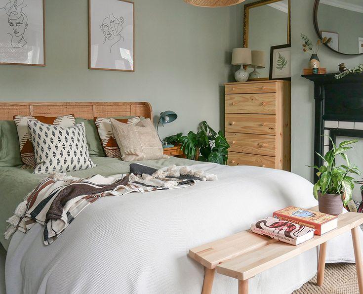 guest bedroom in 2020  sage green bedroom woman bedroom