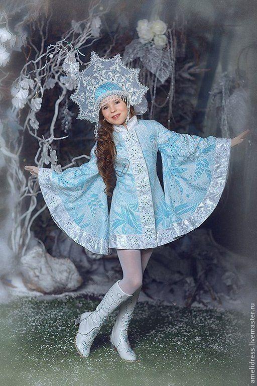 Купить Карнавальный костюм. Снегурочка - голубой, цветочный, кокошник, снегурочка, карнавальный костюм, шёлк, бисер