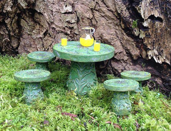 Perfect Fee Garten Miniatur Tisch und St hle Puppenhaus Zubeh r