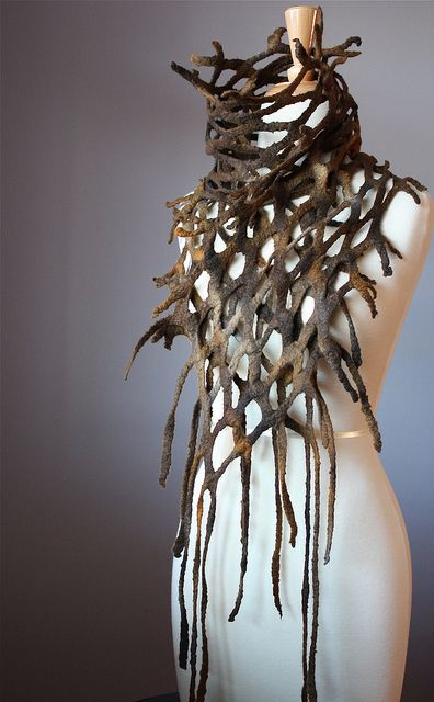 Felted scarf wool Brown burnt Orange earthy Fish net spring by VitalTemptation: this is amazing! Wearable art!