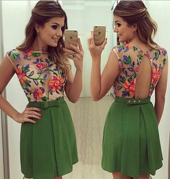 Green Patchwork Grenadine Bow Backless Sexy Mini Dress
