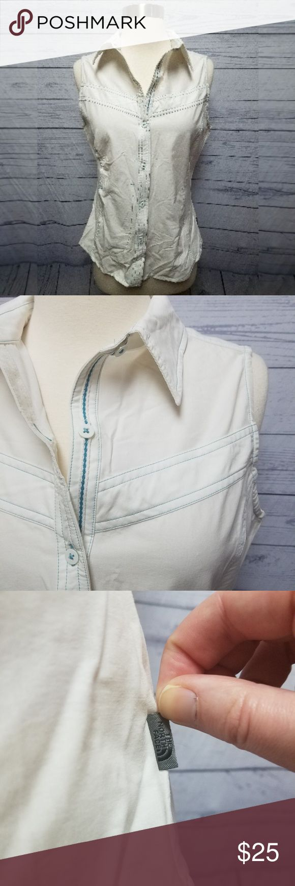 """The North Face white button down vest The North Face white button down sleeveless vest with teal trim. Women's size small. Very lightweight, mesh inside. Bust: 18"""" laid flat Length: 25"""" The North Face Jackets & Coats Vests"""