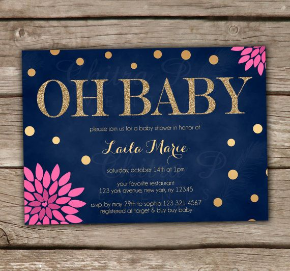 Glitter Baby Shower Invitations - DIY, Printable, Gender Neutral, Navy, Gold, Pink, Floral, Chalkboard, Couples, Twins - Style #0010