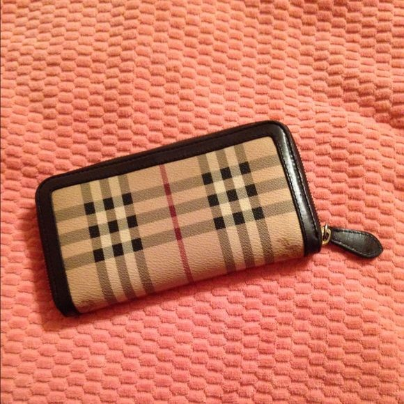 Burberry zip wallet, brown and original  checker Awesome brown and original checker print zip wallet. Great condition. Burberry Bags Wallets