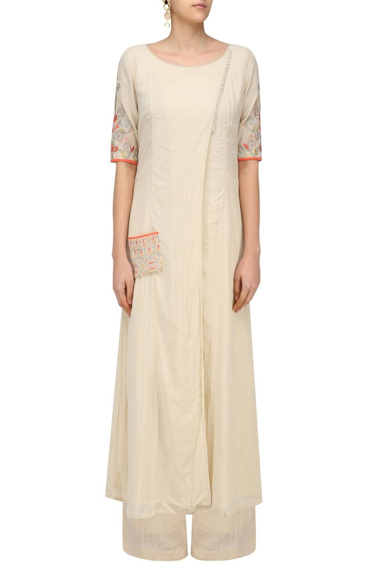 Sand color floral embroidered side flap kurta available only at Pernia's Pop Up Shop.