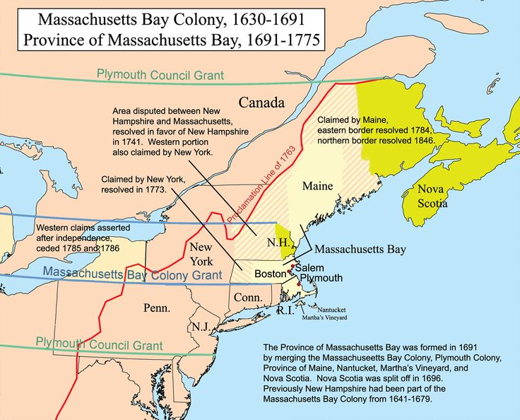 Massachusetts Bay colony 1630-1691 and Province of Massachusetts Bay 1691-1775