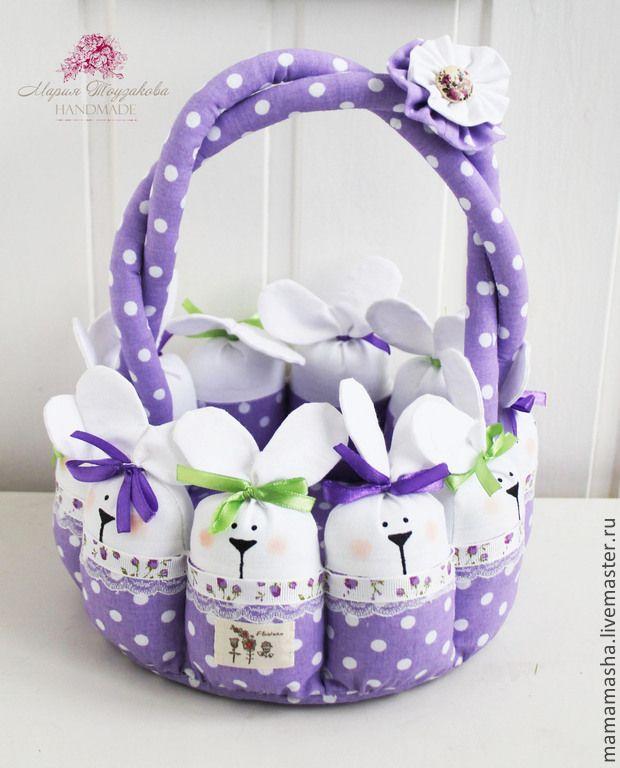 Корзинка с зайчиками! - бежевый, корзиночка, пасхальная корзиночка, подарок на Пасху, Пасха, корзинка для яиц