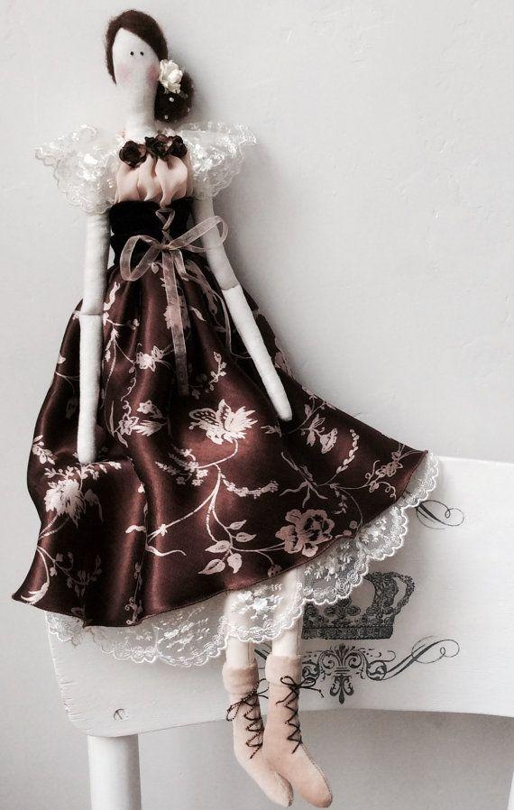 Tilda Madame Chcolate Doll Cloth doll Soft toy Rag doll