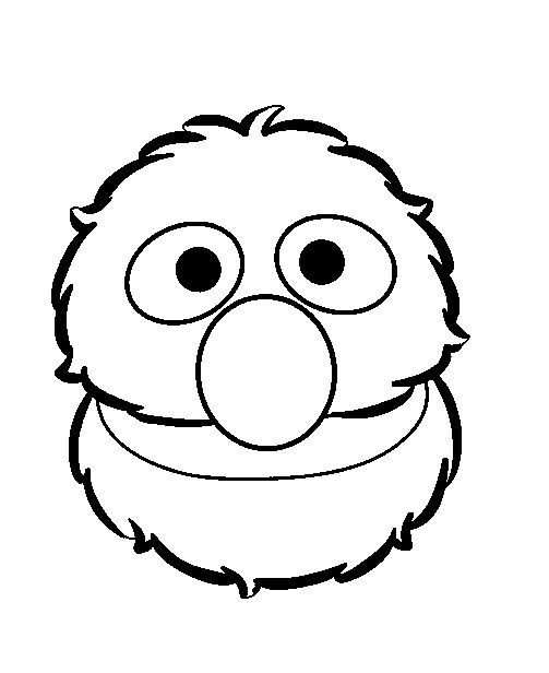 sesame street grover face coloring picture for kids