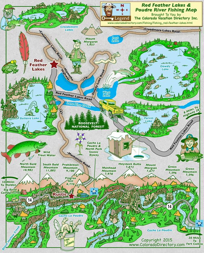 Fishing map for the Red Feather Lakes and Poudre River, The Colorado Vacation Directory