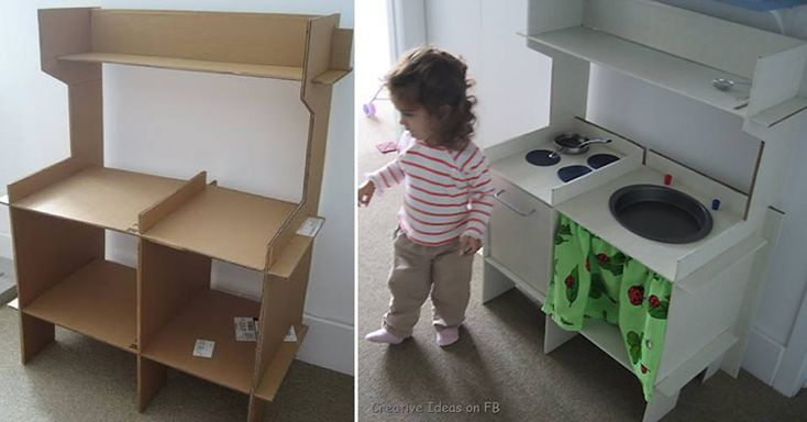 diy cardboard kitchen for kids, I'd make it out of wood to last. Like the design.
