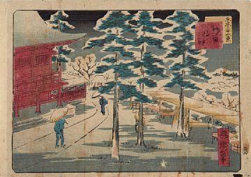 HIROSHIGE SKOLE Sne ved tempel, ca 1850 Japansk fargetresnitt, Ukiyo-e. 18x24 cm