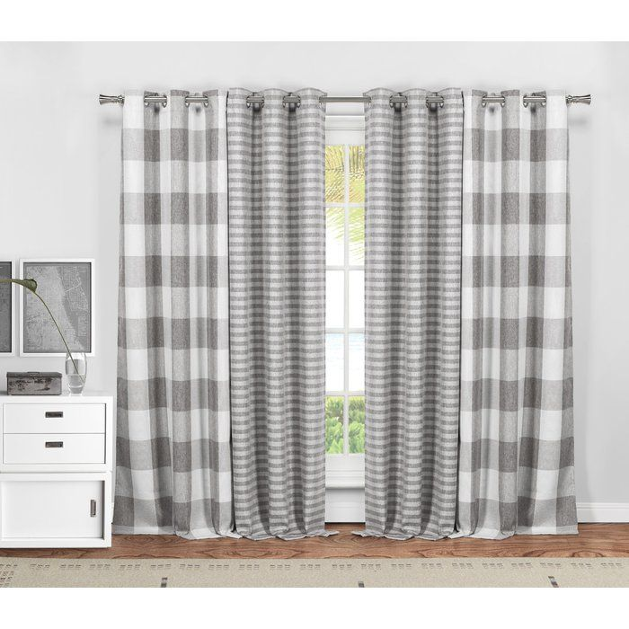 Dedric Plaid And Striped Blackout Thermal Curtain Panels