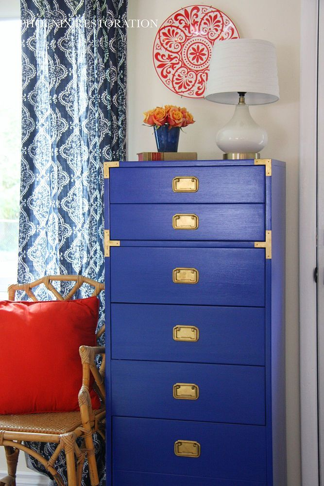 Klein Blue Campaign Chest / Dresser Makeover