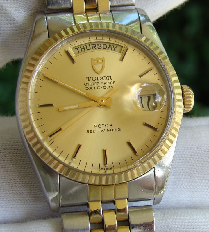 VINTAGE ROLEX TUDOR DATE-DAY STAINLESS/GOLD AUTOMATIC WATCH Ref. 94613