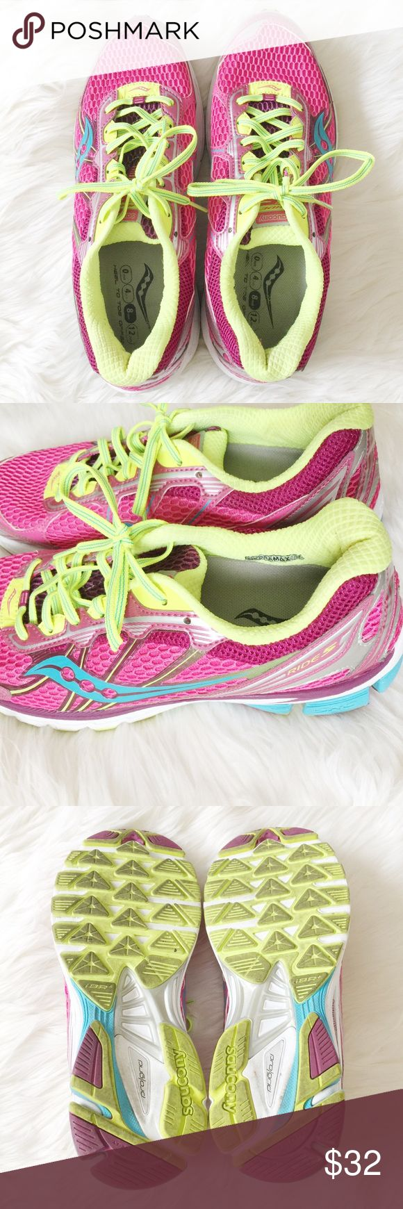 Saucony Neon Running Shoes Funky and fun Saucany neon running shoes perfect for working out in style! Worn twice. Bundle more to save more. All reasonable offers accepted 💖✨ Saucony Shoes Athletic Shoes