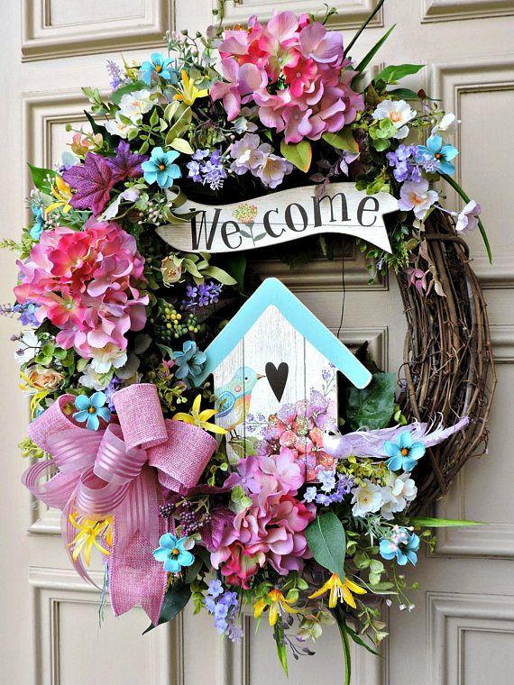 Spring Wreath Front Door Wreath Birdhouse Wreath With Images