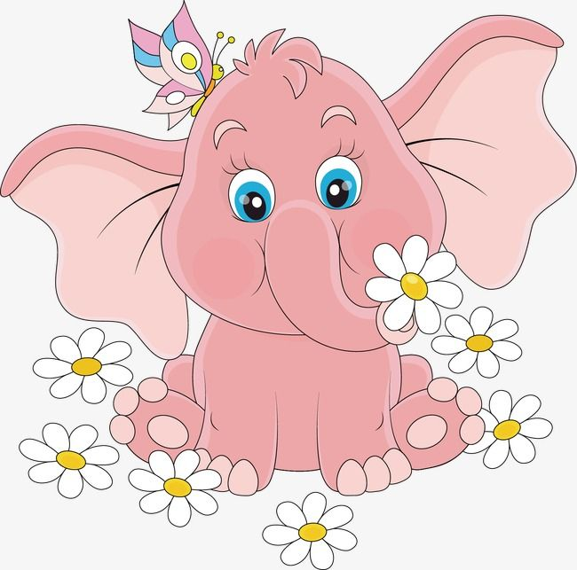 Hand Painted Cartoon Pink Elephant White Flower Pattern Cartoon Vector Elephant Vector Flower Vector Png Transparent Clipart Image And Psd File For Free Down Cute Elephant Cartoon Baby Elephant Cartoon Cute
