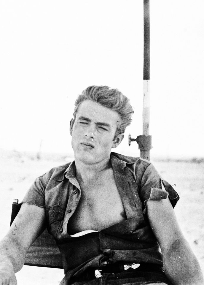 James Dean on the set of Giant (1956)