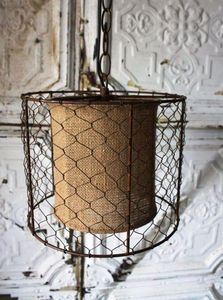 "Pendant light with burlap fabric center surrounded by chicken wire frame - 9"" tall by 10"" diameter.  Found at:  http://www.tuscanhomedecorandmore.com/servlet/the-1943/VINTAGE-INDUSTRIAL-OR-COTTAGE/Detail"