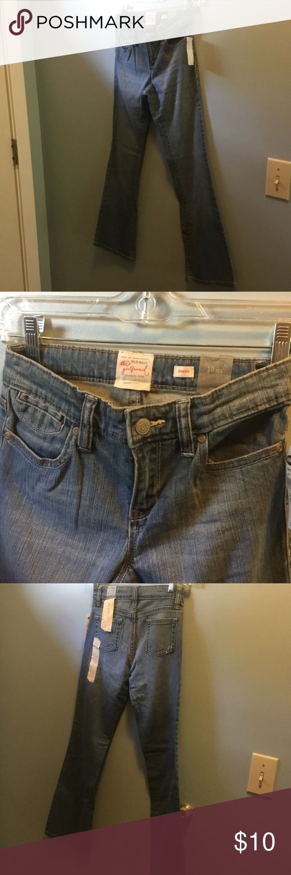 OLD NAVY girls jeans size 10reg. NWT Old navy the girlfriend classics rise boot-cut. Adjustable waist stretch.  Smoke and pet free home Old Navy Bottoms Jeans