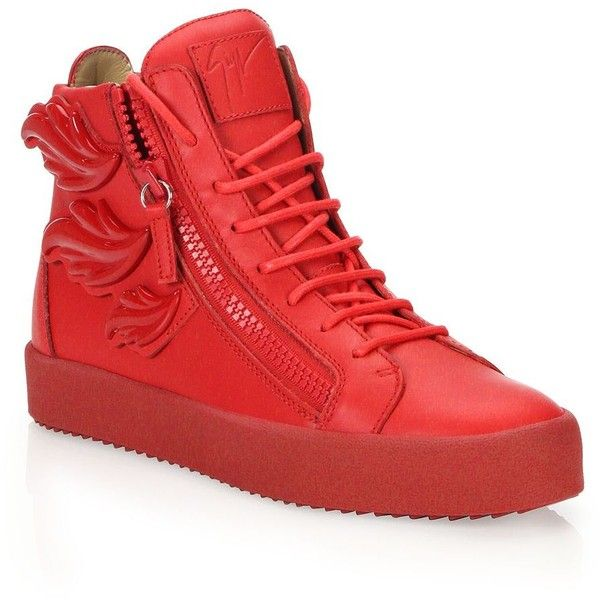 Giuseppe Zanotti Triple Wing High-Top Sneakers ($555) ❤ liked on Polyvore featuring men's fashion, men's shoes, men's sneakers, mens red shoes, mens black hi top sneakers, mens red high top sneakers, mens shoes and giuseppe zanotti mens sneakers