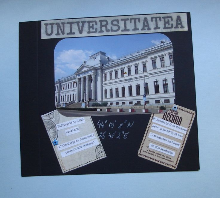1st scrapbook album of Craiova city.  Created for the mayor, the album contains 10 pages, each of them with 1 photo.  The first 5 pages are with Craiova of the 1901-1937, and the last 5 pages with the modern city.  Every page contains basic info about the picture, both in English and Romanian, and the geographical coordinates of the building in question.
