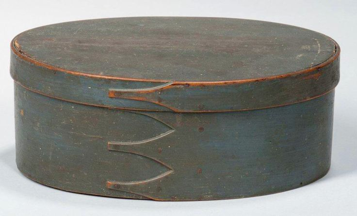 Skinner's online Sale 3023T 8/14/17 lot 1023.  Estimate: $400-600. Realized: $1,476 (1,200 hammer).  Description:  Blue-painted Oval Shaker Pantry Box, America, 19th c., finger joints secured with copper tacks, ht. 4 1/2, wd. 11 3/4 in.  Bottom has a split through the center; small wood splinter at one base pins o the back; lid has areas of repaint.