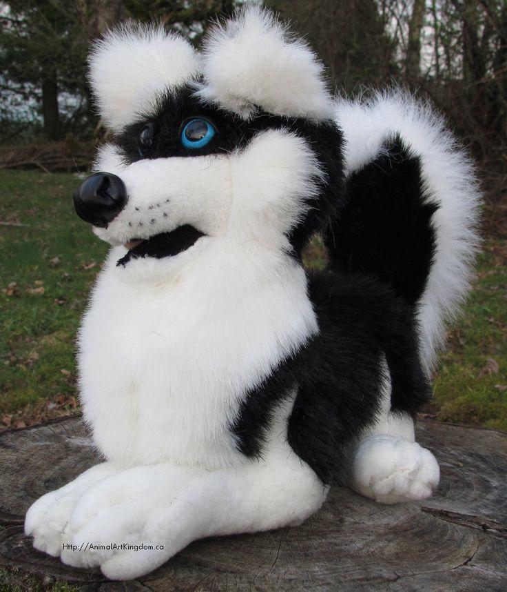 Laying Black Husky Dog Plush Stuffed Animal Toy Handmade Canada by AnimalArtKingdom on Etsy
