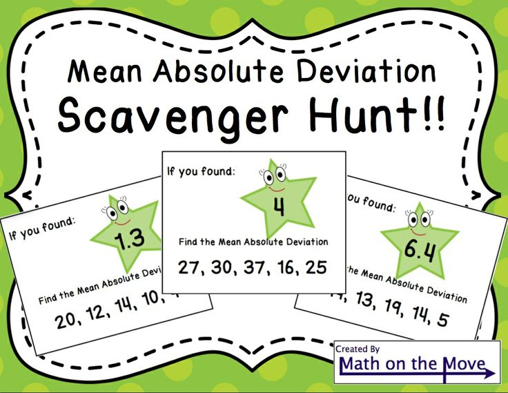 Mean Absolute Deviation Scavenger Hunt! Students move through the room solving problems and finding the next card with the corresponding answer.