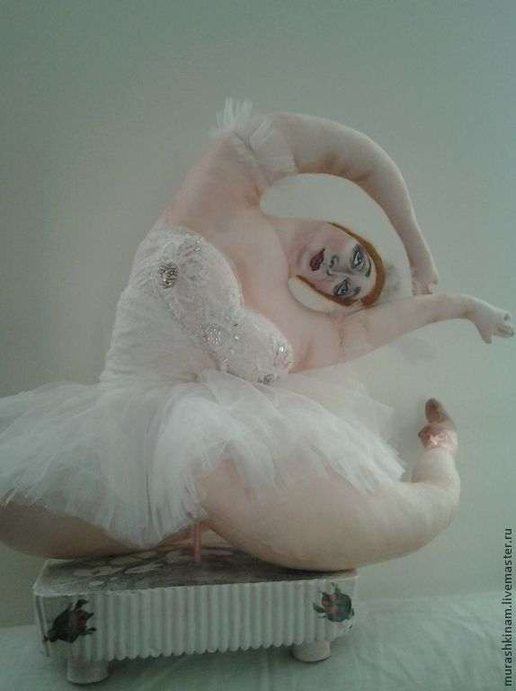 Купить ПРИМА-балерина. Текстильная кукла толстушка. - белый, коллекционная кукла, авторская кукла
