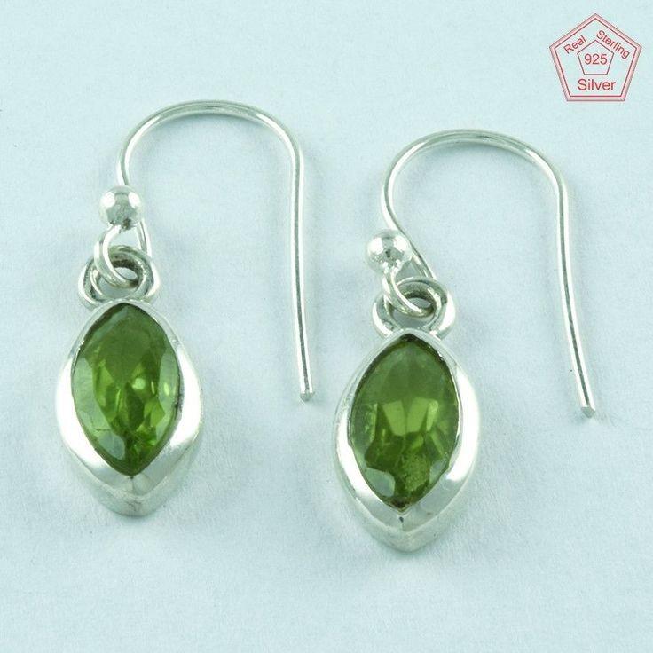 Peridot Stone 925 Solid Sterling Silver Dangle Earrings #SilvexImagesIndiaPvtLtd #DropDangle