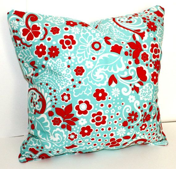 DECORATIVE PILLOW Cover - THROW Pillows - 18 x 18 inches - Red and Turquoise Blue flowers. USD15 ...