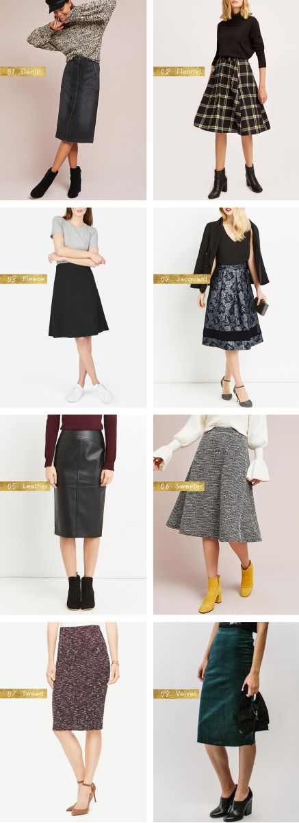These heavy-duty skirts will keep your legs warm all winter long. When it comes to winter skirts, it's all about finding the right fabric. Try something denim, flannel, fleece, jacquard, leather, sweater, tweed or velvet this winter!