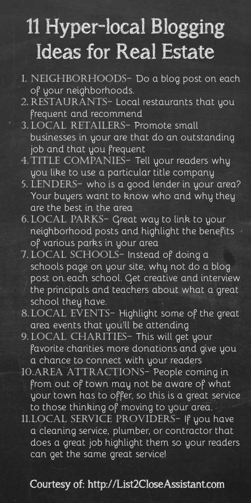 11 ideas to help you jump start your hyper-local blogging strategy for your real estate business.