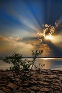 Amazing Sun Rays Shining Down On Lake Eufaula in Tulsa, Oklahoma.