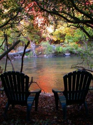 Life at the cabin ~ Chairs along a stream!