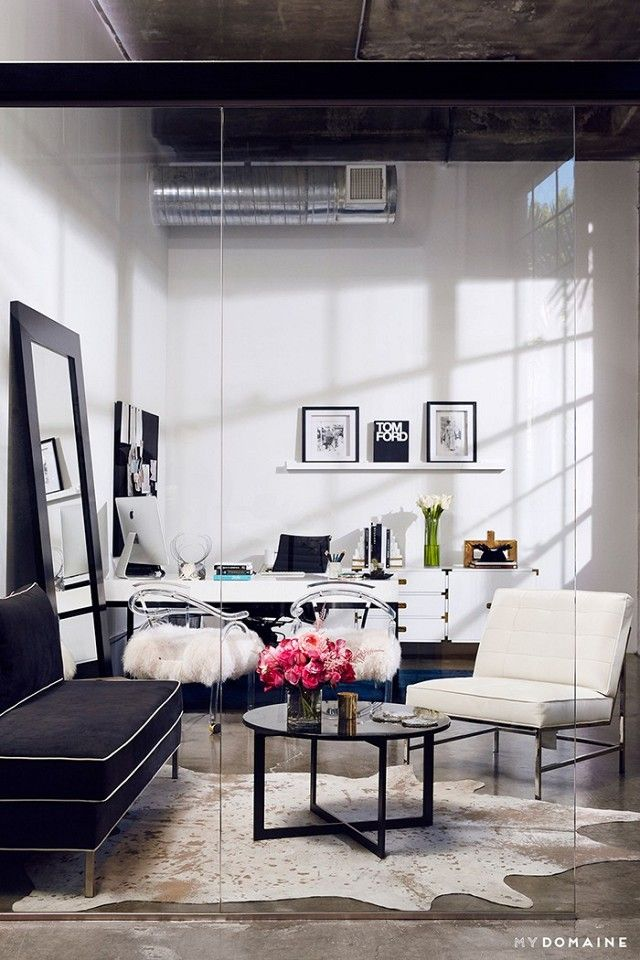 home office style ideas. luxe industrial office space with feminine touches home style ideas