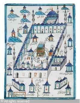 IZNIK CERAMIC, 17 > (Turkey)  Title : ILE DEPICTING THE KAABA  Date :  ILE DEPICTING THE KAABA sold by Christie's, London, on Thursday, October 06, 2011
