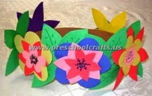 preschool spring headband craft from flowers