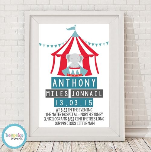 Product image of Circus Birth Print by Bespoke Moments. Worldwide Shipping Available.