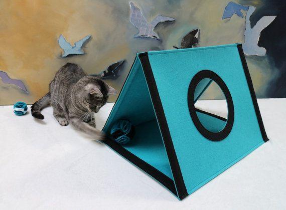 Kat speelgoed, katachtige, vilt kat bed, kat huis, cadeau voor kattenliefhebbers, moderne kat meubilair, huisdier bed, voelde me huis, voelde me bed, de grot van de kat, de kat tent