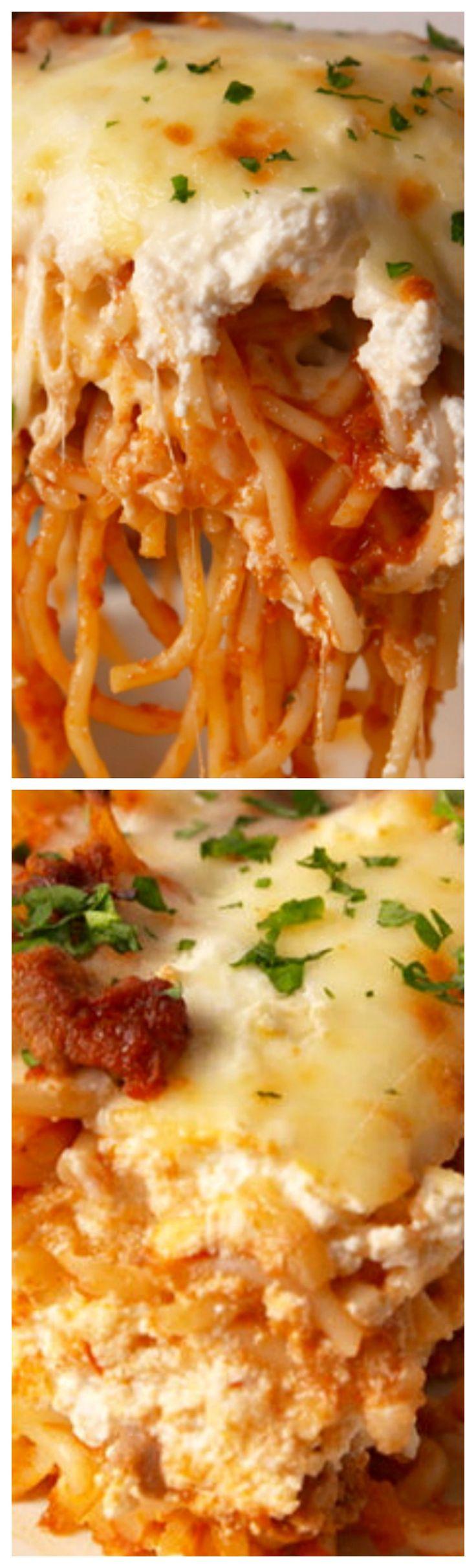 Spaghetti Lasagna ~ Delicious and so much easier to make than regular lasagna