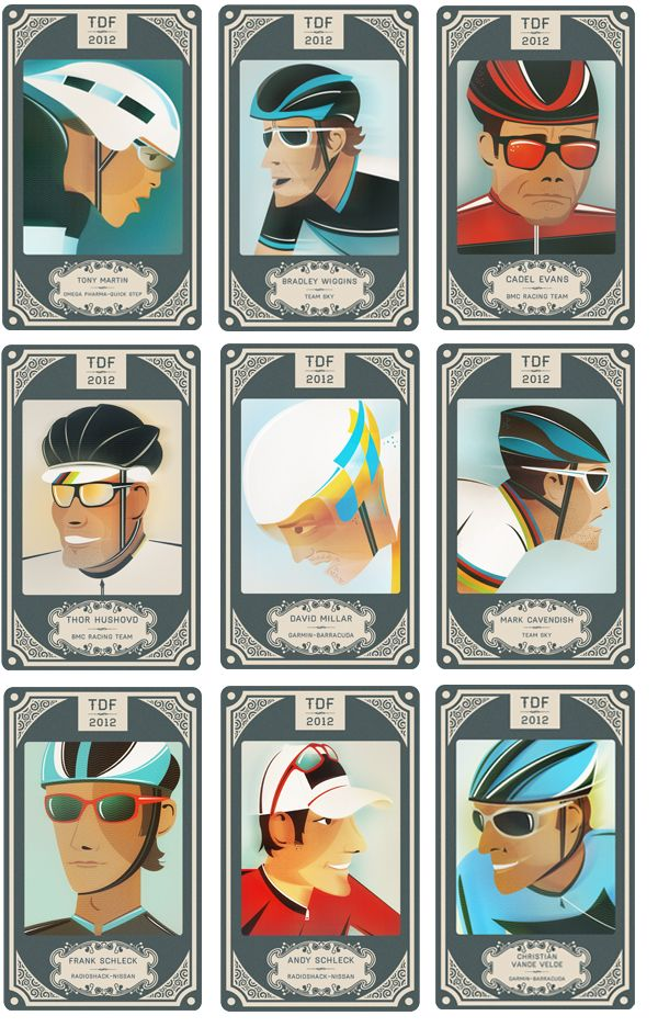 Crayonfire: Tour De France Riders | Neil Stevens  www.boxerbranddesign.com/blog
