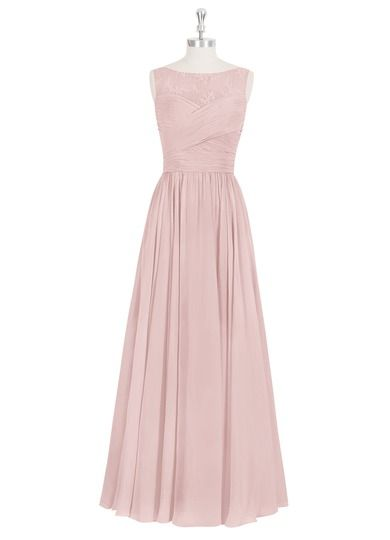 AZAZIE ALIYA. Floor-length, fitted pleated waist and sheer lace neckline. In 48 colors. $139.