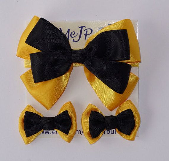 Emma hair bow..Emma shoe clips..Yellow and black bow by YouMeJP