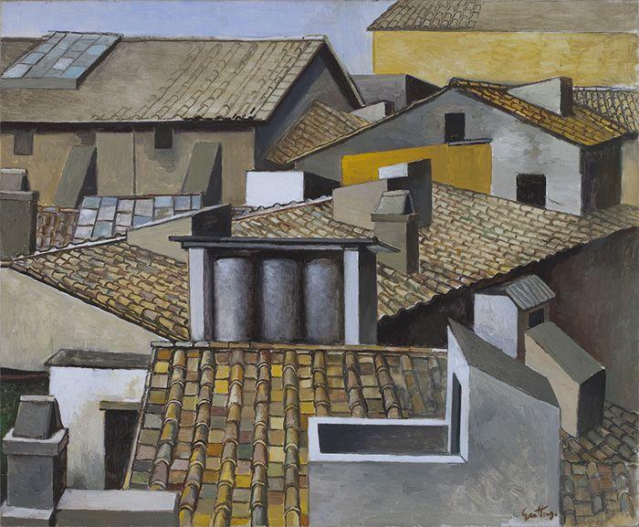 Renato Guttuso, Tejados en Roma, c.  1973, Óleo sobre lienzo, 70 x 85 cm, Cortesía Galleria d'Arte Maggiore, Bolonia