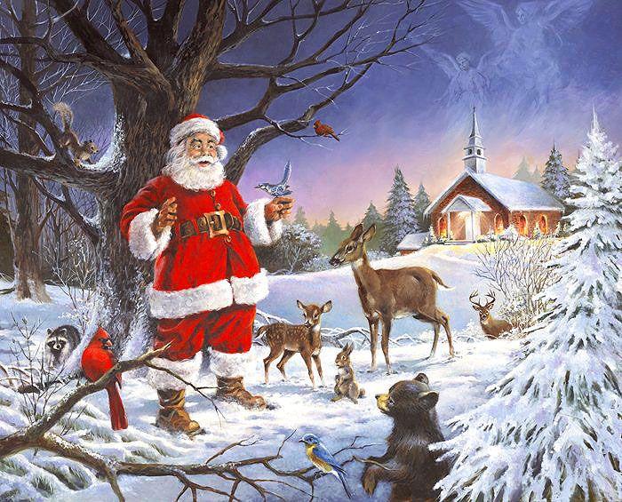 Santa At The Chapel 36 X 44 Panel Digital Print Fabric Christmas Service Christmas Art Christmas Scenes