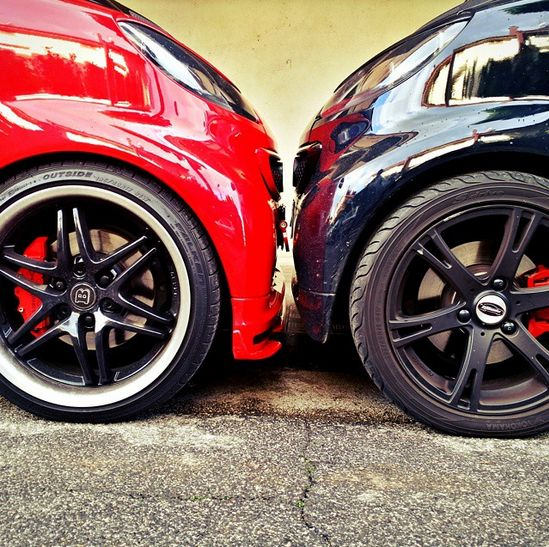 smart vs. smart. Who's the victor? Photo via @peppebrabus #smartcar #smart #brabus