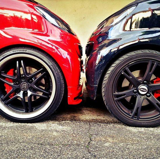 smart vs. smart. Who's the victor?  Photo via @peppebrabus #smartcar #smart #brabus